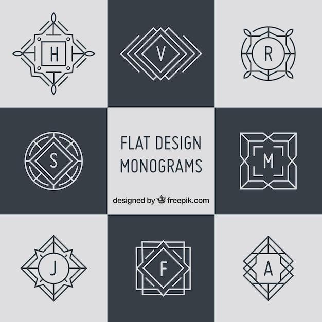 Zestaw Eleganckich Monogramów W Stylu Liniowym Darmowych Wektorów