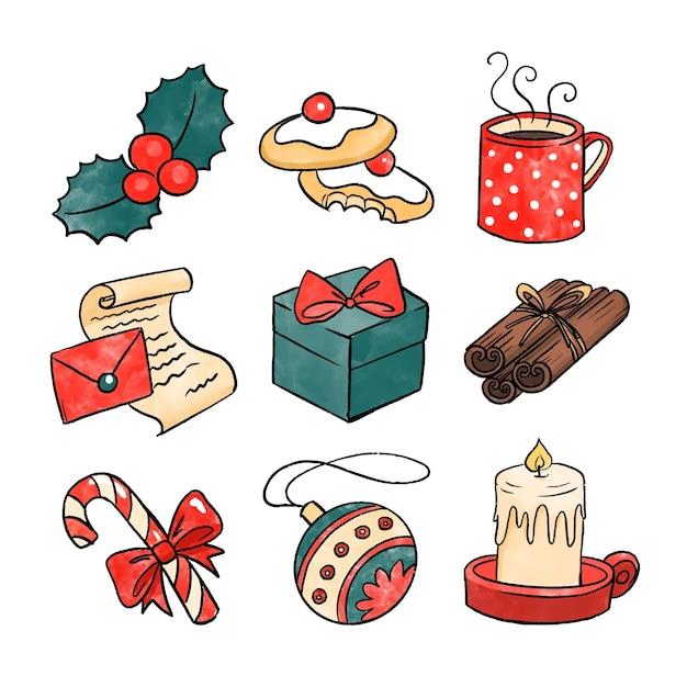 Zestaw Elementów Akwarela Boże Narodzenie Premium Wektorów
