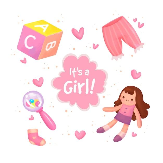 Zestaw Elementów Baby Shower Dla Dziewczynki Premium Wektorów