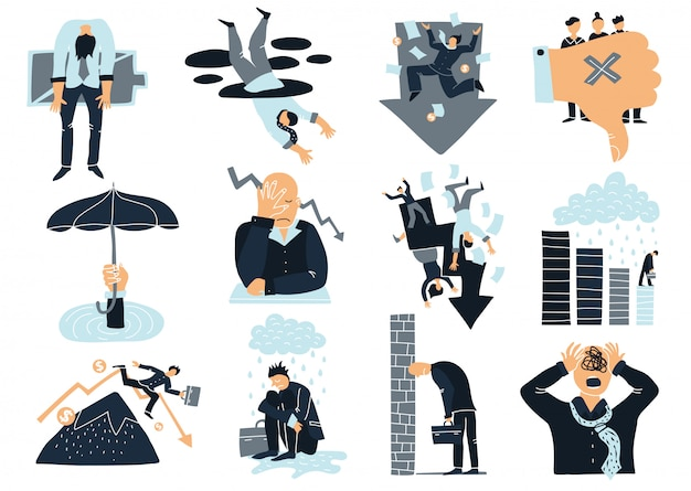 Zestaw Elementów Biznesowych Niepowodzenia Darmowych Wektorów