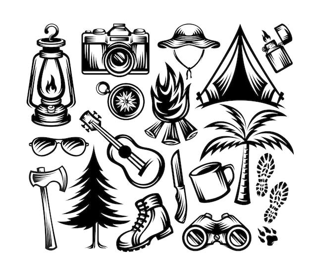 Zestaw Elementów Camping Ilustracja Styl Monochromatyczny Na Białym Tle Premium Wektorów