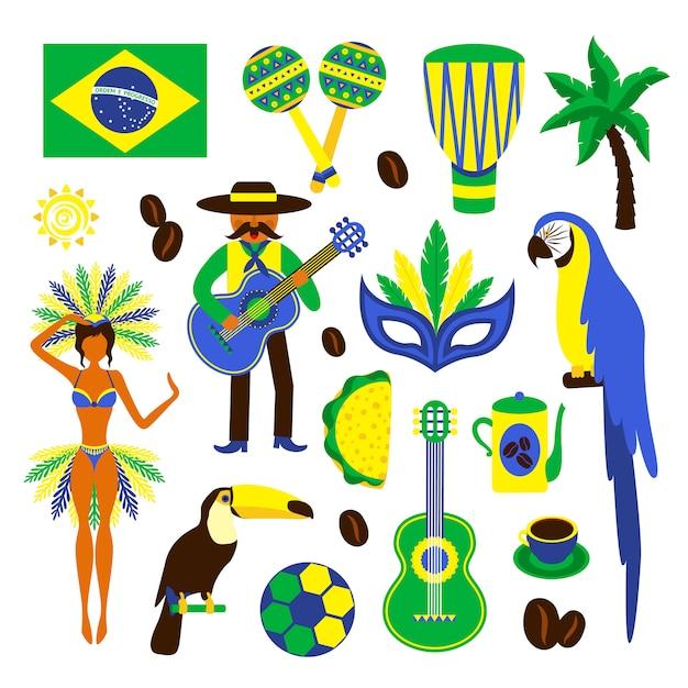 Zestaw elementów dekoracyjnych brazylii, ptaków, roślin, żywności i znaków Premium Wektorów