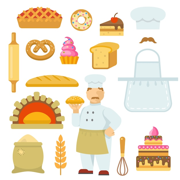 Zestaw Elementów Dekoracyjnych Płaskich Piekarni Darmowych Wektorów