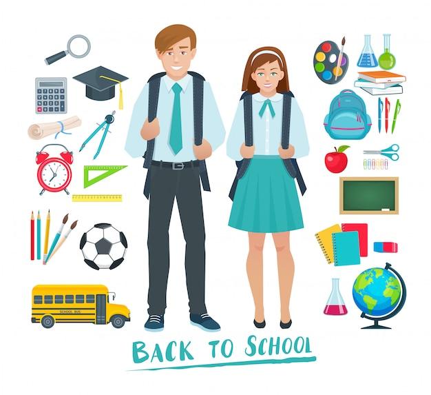 Zestaw Elementów Do Szkoły Premium Wektorów
