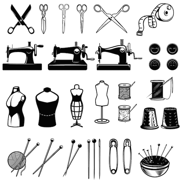 Zestaw Elementów Do Szycia. Maszyny Do Szycia, Nożyczki, Igły. Element Projektu Logo, Etykiety, Godła, Znaku. Wizerunek Premium Wektorów