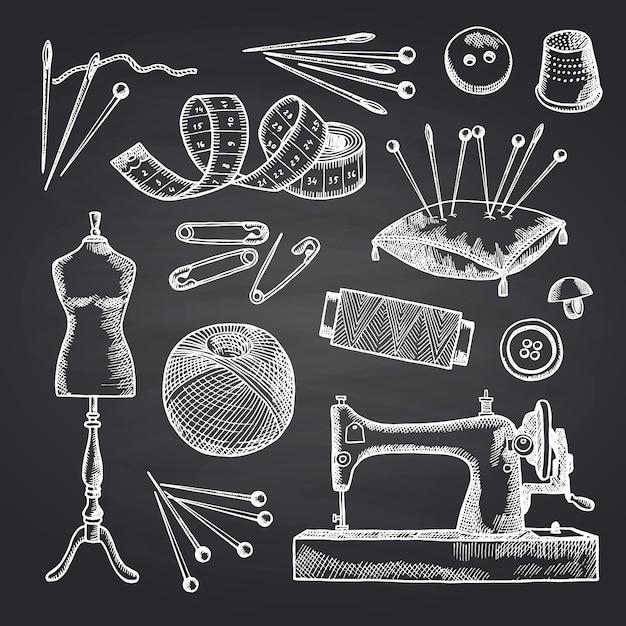 Zestaw Elementów Do Szycia Ręcznie Rysowane Na Czarnej Tablicy Ilustracja. Narzędzia Do Pracy Ręcznej I Szycia Premium Wektorów