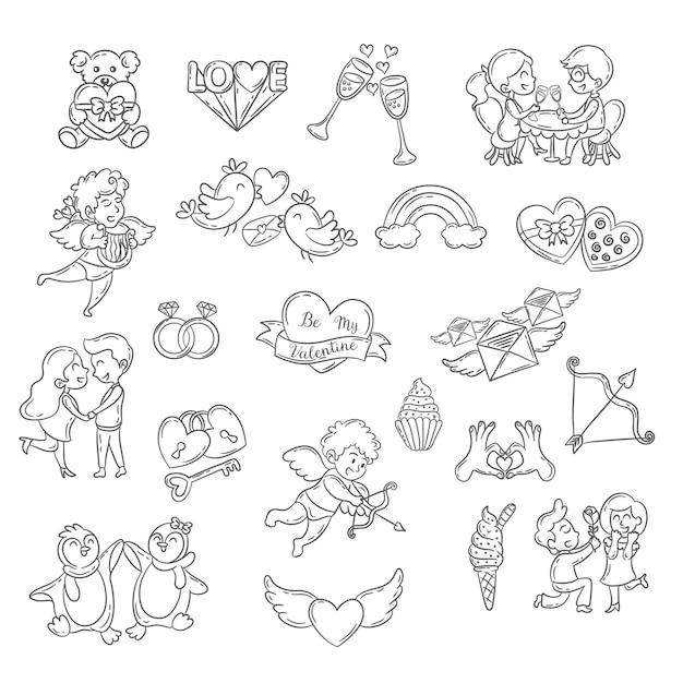 Zestaw Elementów Doodle ładny Walentynki Premium Wektorów