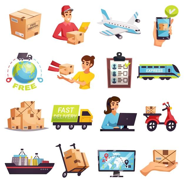 Zestaw elementów dostawy przesyłki na cały świat Darmowych Wektorów