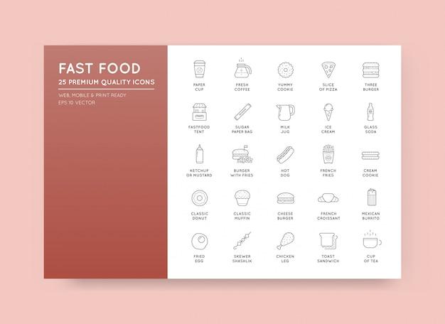 Zestaw Elementów Fast Food Vector Ikony I Sprzęt Jako Ilustracja Może Służyć Jako Logo Lub Ikona W Najwyższej Jakości Premium Wektorów