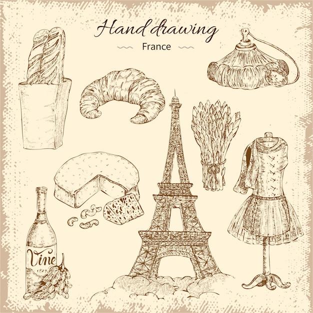 Zestaw Elementów Francja Rysunek Ręka Darmowych Wektorów