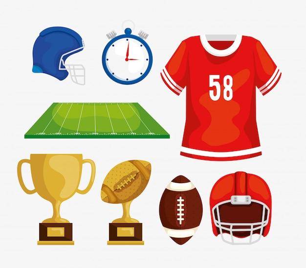 Zestaw Elementów Futbolu Amerykańskiego Premium Wektorów