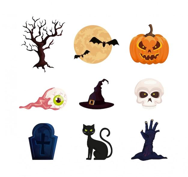 Zestaw elementów halloween Darmowych Wektorów