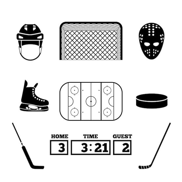 Zestaw Elementów Hokejowych. Darmowych Wektorów