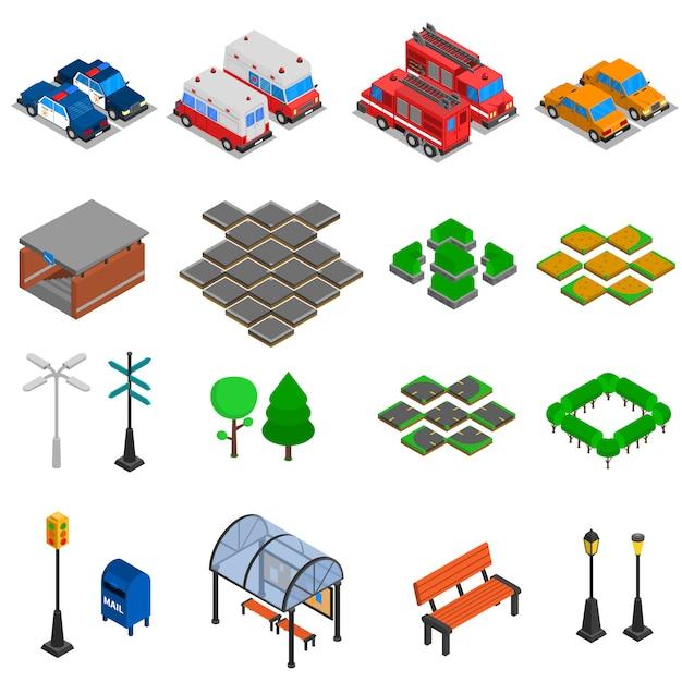 Zestaw elementów infrastruktury miejskiej Darmowych Wektorów