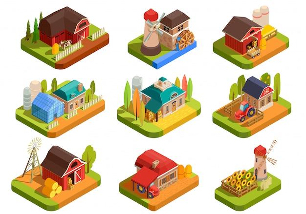 Zestaw Elementów Izometrycznych Farmy Darmowych Wektorów