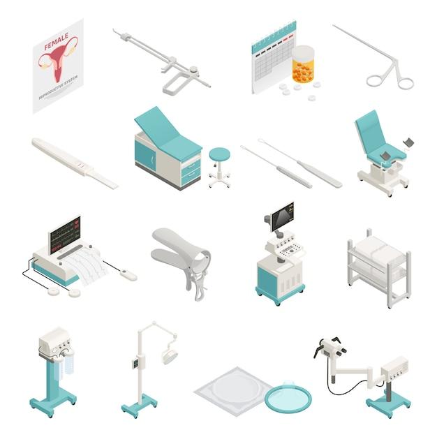 Zestaw elementów izometrycznych ginekologii Darmowych Wektorów