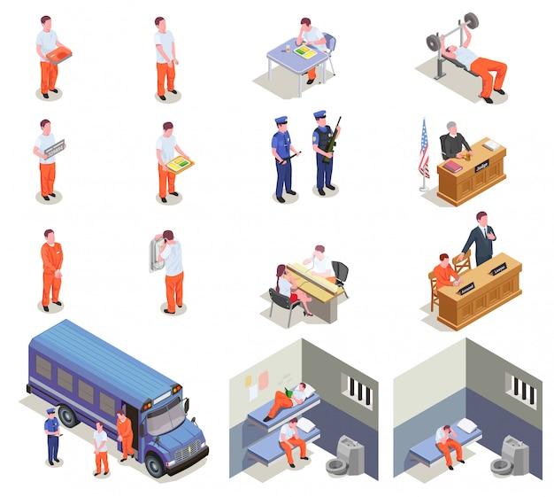 Zestaw Elementów Izometrycznych Więzienia Darmowych Wektorów