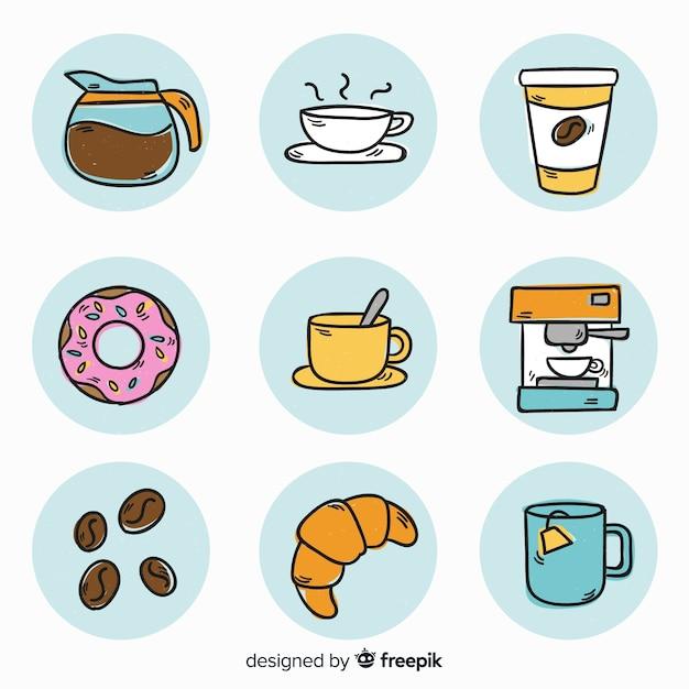 Zestaw elementów kawy Darmowych Wektorów