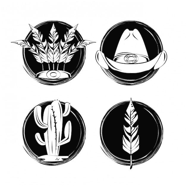 Zestaw Elementów Kolekcji Tatuaży Premium Wektorów