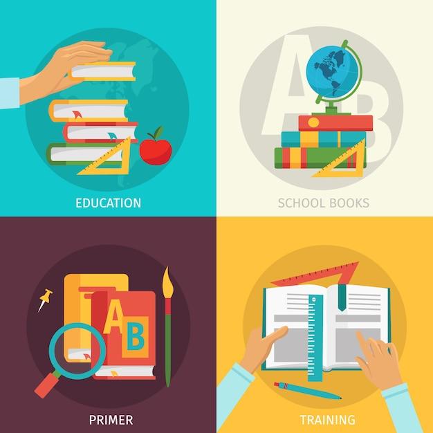 Zestaw Elementów Kolorowych Książek Szkolnych Darmowych Wektorów