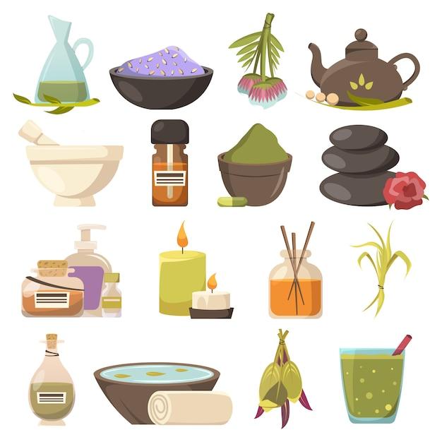 Zestaw Elementów Kosmetologii Naturalnej Darmowych Wektorów