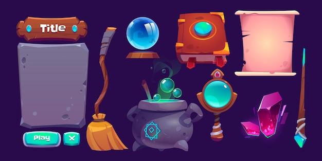 Zestaw Elementów Kreskówek Magicznego Interfejsu Gry Darmowych Wektorów