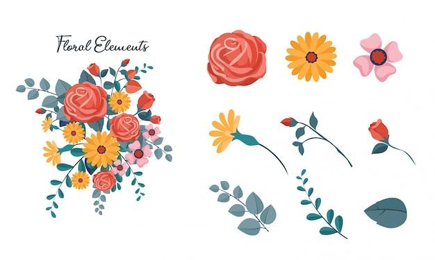 Zestaw Elementów Kwiatowych Premium Wektorów