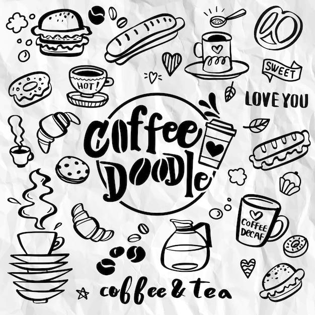 Zestaw Elementów ładny Sklep Z Kawą Premium Wektorów