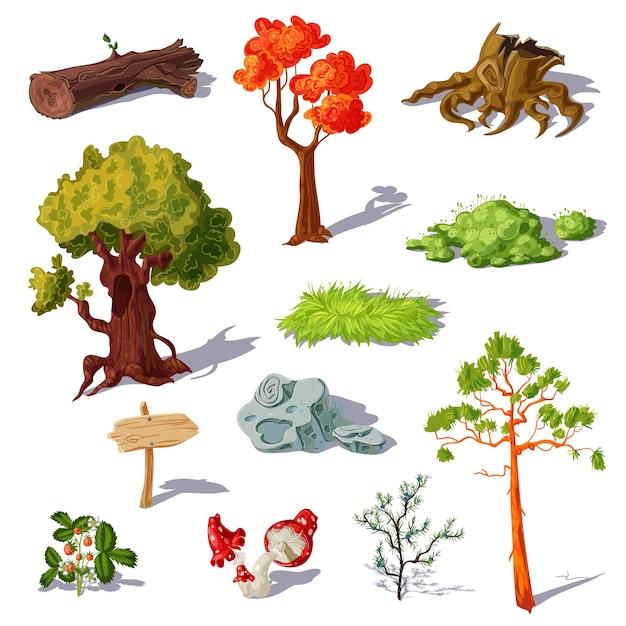 Zestaw Elementów Lasu Darmowych Wektorów