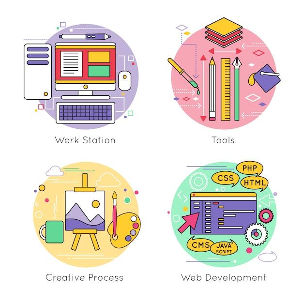 Zestaw Elementów Linii Web Design Darmowych Wektorów