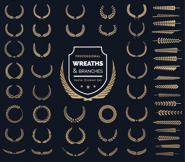 Zestaw Elementów Logo Crests. Logo Szmaragdowe, Wieńce Laurowe W Stylu Vintage, Elementy Do Projektowania Elementów Logo Premium Wektorów