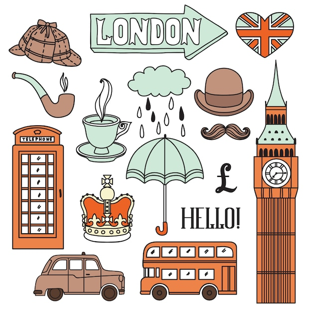 Zestaw Elementów Londynu Premium Wektorów