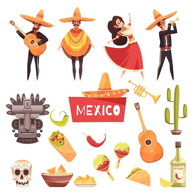 Zestaw Elementów Meksykańskich Darmowych Wektorów