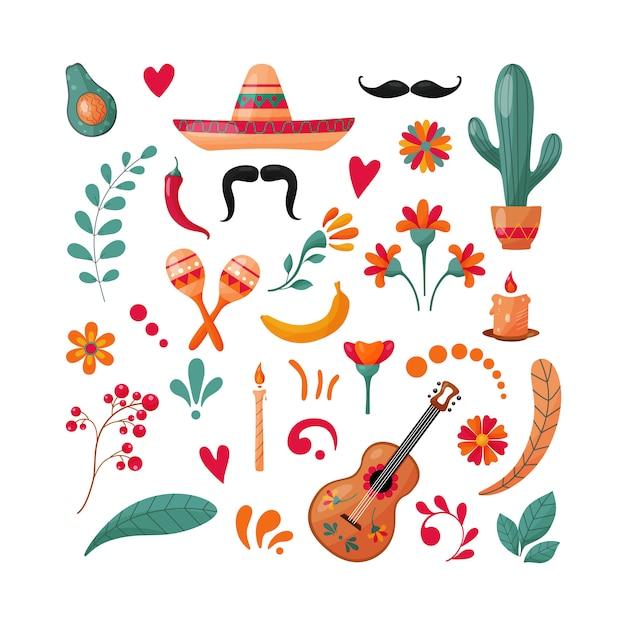 Zestaw Elementów Meksykańskich. Premium Wektorów