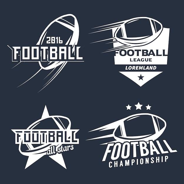 Zestaw Elementów Monochromatycznych Ligi Futbolu Amerykańskiego / Mistrzostw / Turnieju / Klubu. Premium Wektorów