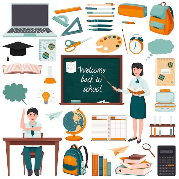 Zestaw Elementów O Tematyce Szkolnej. Płaski Styl Premium Wektorów