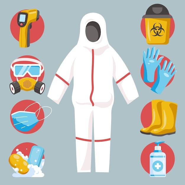 Zestaw Elementów Ochrony Przed Wirusami Darmowych Wektorów