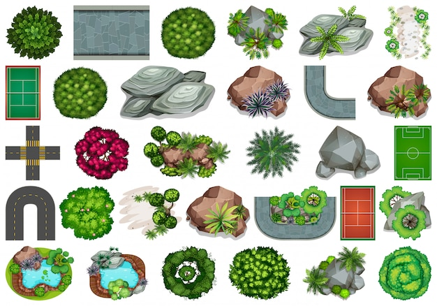 Zestaw elementów ogrodowych Darmowych Wektorów