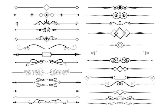 Zestaw Elementów Ozdobnych Kaligrafii Darmowych Wektorów