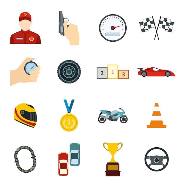 Zestaw elementów płaskich do wyścigów samochodowych dla urządzeń internetowych i mobilnych Premium Wektorów