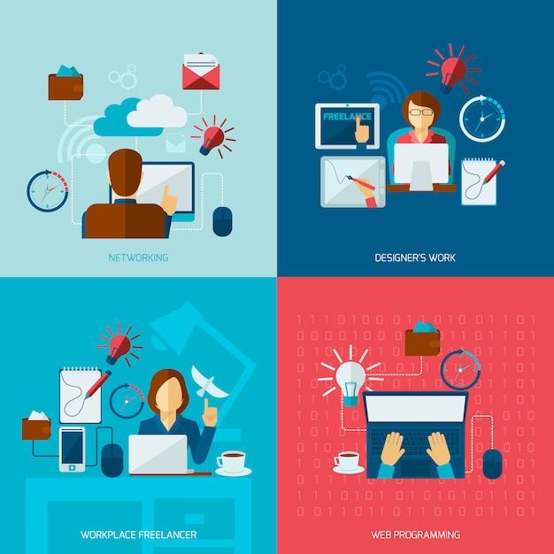 Zestaw elementów płaskich freelance Darmowych Wektorów