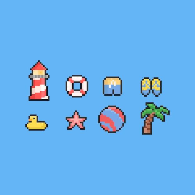 Zestaw Elementów Plaży Latem Pikseli. 8 Bitowy. Premium Wektorów