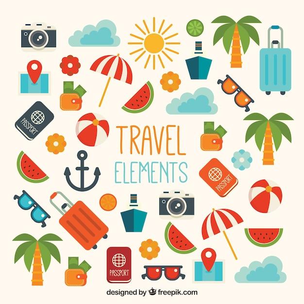 Zestaw Elementów Podróżujących W Płaskim Kształcie Darmowych Wektorów