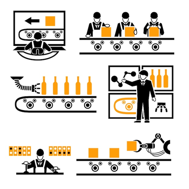 Zestaw Elementów Procesu Produkcji Fabrycznej. Darmowych Wektorów