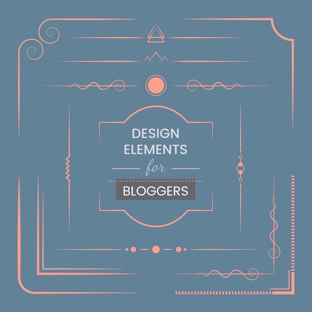 Zestaw elementów projektu dla blogerów wektorowych Darmowych Wektorów
