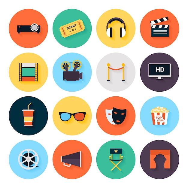 Zestaw elementów projektu filmu i ikony kina w stylu płaski. Premium Wektorów