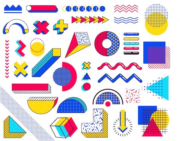 Zestaw elementów projektu memphis. abstrakcyjne elementy z lat 90. z wielokolorowymi prostymi kształtami geometrycznymi. kształty z trójkątami, okręgami, liniami Premium Wektorów