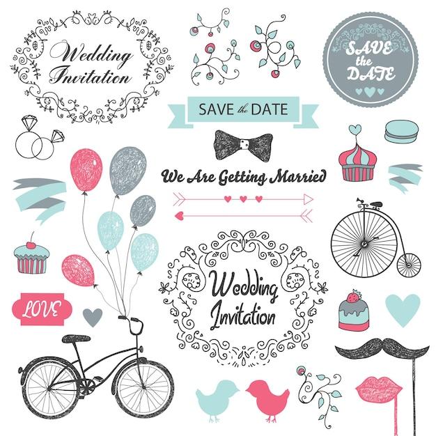 Zestaw Elementów Projektu Zaproszenia ślubne Vintage, Ręcznie Rysowane Premium Wektorów