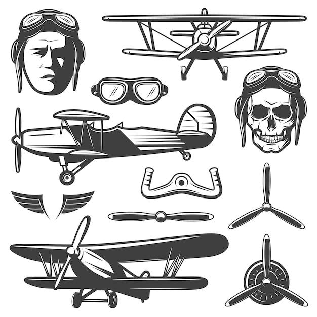 Zestaw Elementów Rocznika Samolotu Darmowych Wektorów