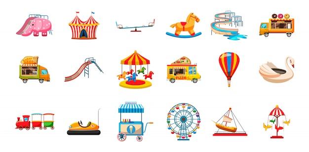 Zestaw Elementów Rozrywkowych Dla Dzieci. Kreskówka Zestaw Rozrywki Dla Dzieci Premium Wektorów